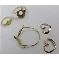 Lot Of 14k Yellow Gold - Earring - Gold Ring - BABY Ring & 2x Charms - 4.90g