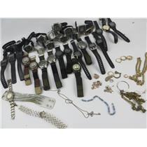 Costume Jewelry Lot Necklaces Watches Rings Earrings Bracelets Gold/Silver-Tone