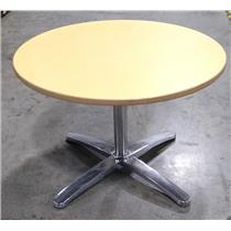"""Pale Orange 42"""" Diameter Round Durable laminate Top Table With Solid Steel Base"""