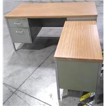 Green Steel Desk with Wooden Top 4 Drawers plus Extension - LOCAL PICKUP ONLY
