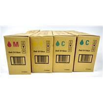 Lot of 4 Dell 5110CN OEM Genuine 2xCyan 1xMagenta 1xYellow Toner CT200841/42/43