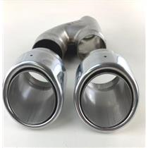 """Stainless Steel 2"""" Inlet Dual Exhaust Tips 2007-13 Chevy GMC Slant Round SET"""