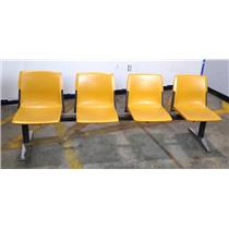 4 Seat Office Waiting Room / Guest Reception Room Chair Metal / Plastic Yellow