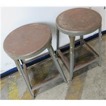 """Lot Of 2 Vintage Retro Industrial  - 22"""" Tall All Steel Shop Stool"""