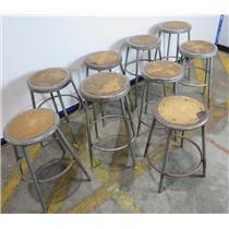 Lot Of 9 Vintage Retro Adjustable Height Industrial Metal / Wood Shop Stools