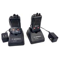 Lot of 2x Motorola Radius SP50 VHF 2-Way Radios w/ Chargers & Power Adapter