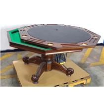 "Bernard Billiard 52"" 8 Player Hardwood 3-in-1 pedestal Pool / Poker Table"