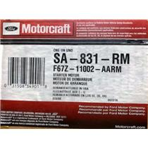F67Z-11002-AA for Ford Motorcraft SA-831-RM Starter Motor Assembly
