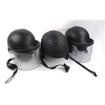 Lot Of 3 Black Ballistic Riot Helmets Unknown Size Two W/ Face Shield SEE PHOTOS