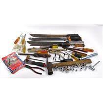 Lot Of Hand Tools Machetes, Sockets, Screwdrivers, Hammer & More SEE PHOTOS