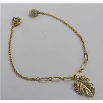 Swarovski Crystal Remix Collection Tropical Leaf Strand Bracelet 14K Gold Plated