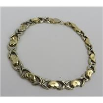 14k Yellow & White Gold Small Hollow Link Heart Bracelet - Stamped 14k - 5.88g