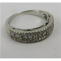 14k White Gold Ring W/ Unknown Clear Stones Size 6.5 - Stamped 14k - 3.90g