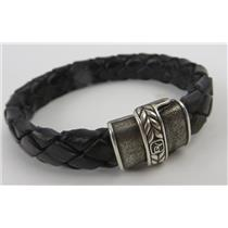 David Yurman Black Leather Chevron Woven Bracelet W/ Sterling Silver Clasp