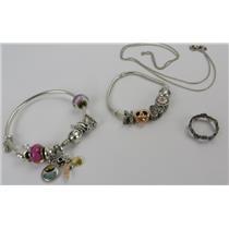 Genuine Pandora 925 Silver Jewelry Lot - Necklace - Ring & 2x Bracelets - 58.85g