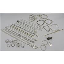 Lot Silver 925 Jewelry - Rings - Necklaces - Bracelets - Earrings 242.47g Total