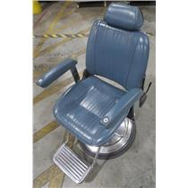 Takara Belmont AB-340N Hydraulic Reclining Blue Barber Chair - BAD HYDRAULICS