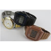 Lot Of 3 Casio Watches MTP-1253 Casual Two-Tone B650W & F-91W Classic - WORKING