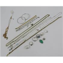 Lot Silver 925 Jewelry - Rings - Necklaces - Bracelets - Earrings 161.35g Total