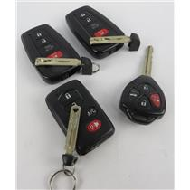 Lot of 4 Toyota Vehicle Car Keyfobs Key Fob Smart Remote Keyless Entry -PREOWNED