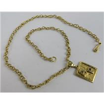 """14k Yellow Gold 14"""" Long 3mm Wide Necklace W/ AP Pendant - 6.65g -SMALL NECKLACE"""