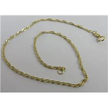 """14k Yellow Gold 9"""" Long 1mm Wide VERY SMALL Chain Bracelet 0.87g - Stamped 14k"""