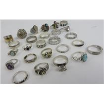 Lot Of 26 - 925 Silver Rings Various Styles / Sizes 127.77g - SILVER JEWELRY