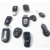 Lot of 10 Vehicle Key Fobs Smart Remote Volkswagen Jeep & More - PREOWNED