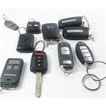 Lot of 10 Vehicle Key Fobs Smart Remote Dodge Nissan & More - PREOWNED
