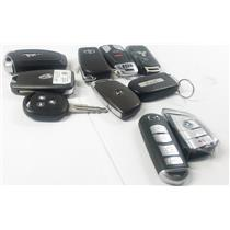 Lot of 10 Vehicle Key Fobs Smart Remote Jeep BMW & More - PREOWNED