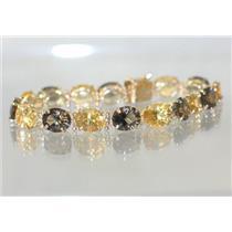 B003, Citrine & Smoky Quartz Gold Bracelet