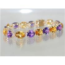 B003, Citrine & Amethyst Gold Bracelet