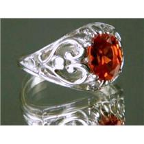 Created Padparadsha Sapphire, 925 Silver Ring, SR111