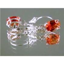 925 Sterling Silver Leverback Earrings, Created Padparadsha Sapphire, SE007