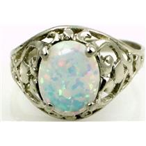 Created White Opal 925 Sterling Silver Ring, SR004