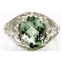 Green Amethyst, 925 Sterling Silver Ring, SR004