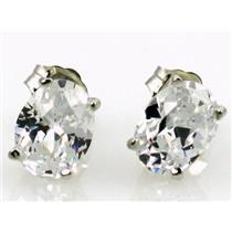 925 Sterling Silver Post Earrings, Cubic Zirconia, SE002