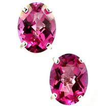 925 Sterling Silver Post Earrings, Pure Pink Topaz, SE002