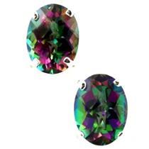 925 Sterling Silver Post Earrings, Mystic Fire Topaz, SE002