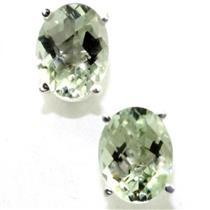 925 Sterling Silver Post Earrings, Green Amethyst, SE002