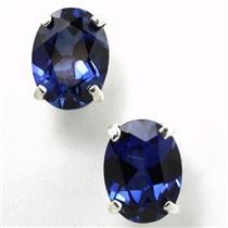 925 Sterling Silver Post Earrings, Created Blue Sapphire, SE002