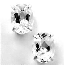 925 Sterling Silver Post Earrings, Silver Topaz, SE002