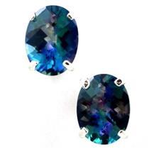 925 Sterling Silver Post Earrings, Neptune Garden Topaz, SE002