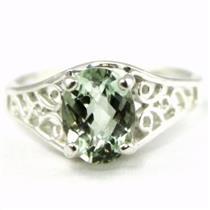 SR305, Green Amethyst 925 Sterling Silver Ring