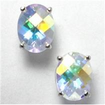 925 Sterling Silver Post Earrings, Mercury Mist Topaz, SE002