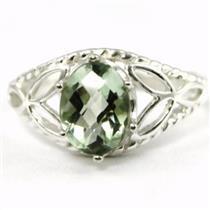 SR137, Green Amethyst, 925 Sterling Silver Ring
