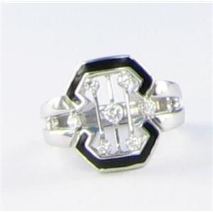 Kwiat Pagoda Ring 0.27cts Diamond 18k W Gold Black Enamel Sz 6.25 New $2765