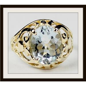 Aquamarine, Gold Ring, R004
