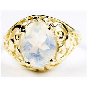 Rainbow Moonstone, Gold Ring, R004