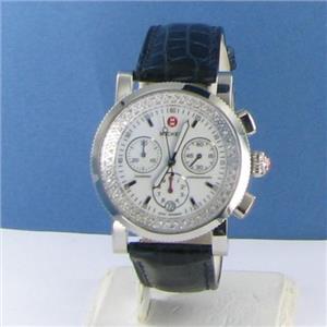 Michele Sport Sail Steel Diamond Ladies Blue Alligator Watch MWW01C01D9001 $1595